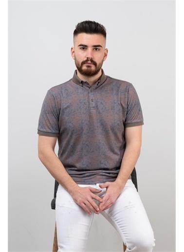 Deri Effect Erkek Polo Yaka Slim Fit Likralı Desenli T-Shirt Kahve